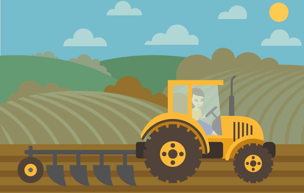 Comic Bild Bäuerin pflügt Erdbeerfeld Spargelfeld von Erdbeerland Ernst & Funck mit gelben Traktor