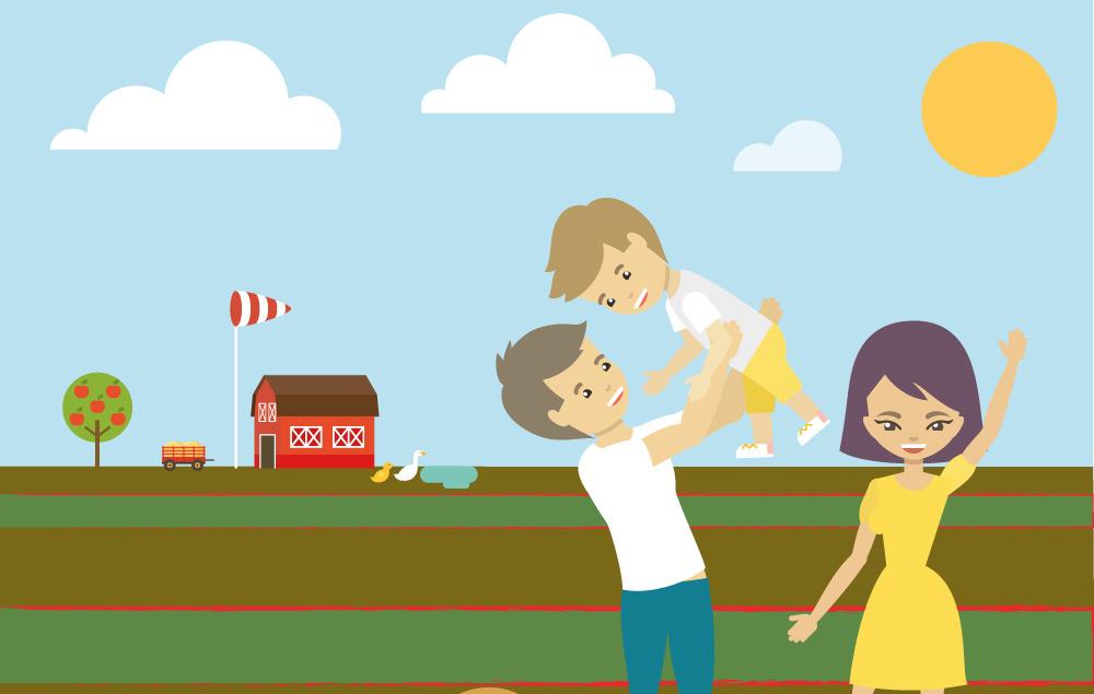Comic Bild von Familie mit Kind auf Selbstpflückfeld von Erdbeerland Ernst & Funck