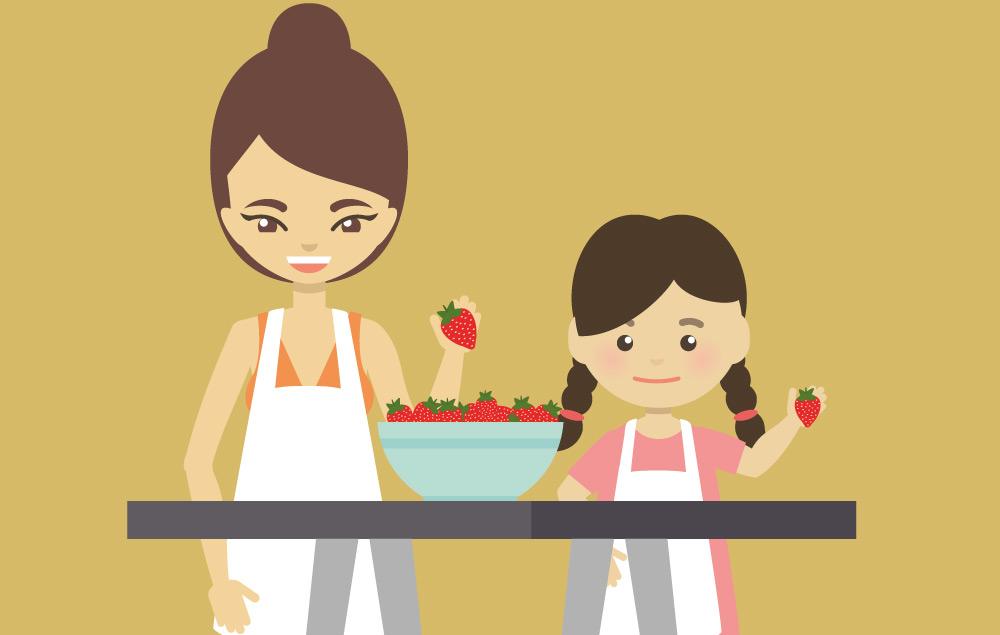 Comic Bild Mutter mit Kind Erdbeeren essen aus Schale Erdbeerland Ernst & Funck
