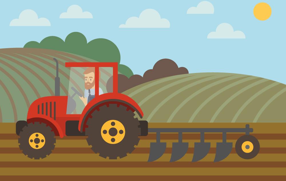Comic Bild eines Bauern pflügt Spargefeld von Erdbeerland Ernst & Funck mit rotem Traktor
