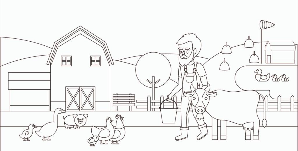 Ausmalbild eines Bauernhofs für Kinder von Erdbeerland Ernst & Funck