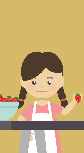 Comicfigur weiblich wäscht Erdbeeren vom Erdbeerland Ernst & Funck